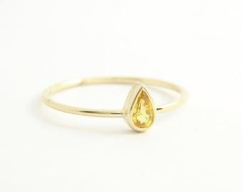 Yellow Sapphire Ring - Yellow Stone Ring - Sapphire Engagement Ring - 14k Gold Ring - Handmade Engagement Ring