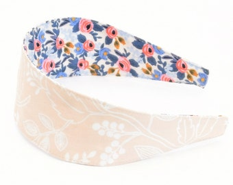 Special Edition REVERSIBLE Rifle Paper Co Les Fleurs Queen Anne in Peach Comfort Fit Fabric Headband