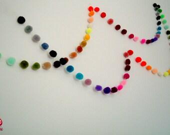 Yarn Pom Pom Garland, pom pom garland, party, wedding, yarn ball, colorful, cute, rainbow, mobile, carnival, iammie, xmas, 3 yards, 9 feet