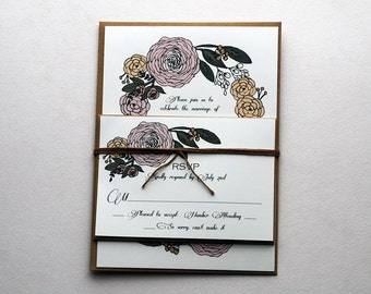 The Nina Collection - Vintage Inspired Floral Wedding Invitation Set in Pink, Gold, Blush, Green and Cream - Purchase for a Sample