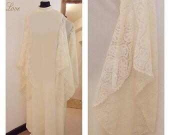 Quirky wedding dress, 1970s wedding dress, Boho wedding dress, Crochet wedding dress, Medieval Wedding Dress, Long Sleeves, hippie, Festival