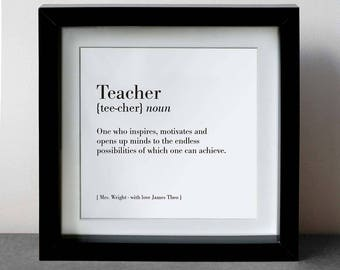 Dictionary Teacher Print Personalised Framed