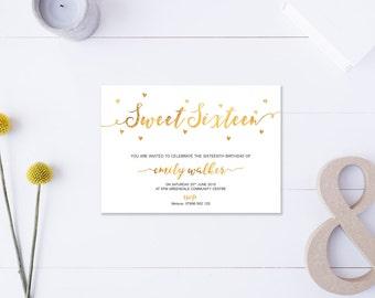 Sweet Sixteen // Invitation // Metallic Gold // DIY Printable File // Digital PDF File