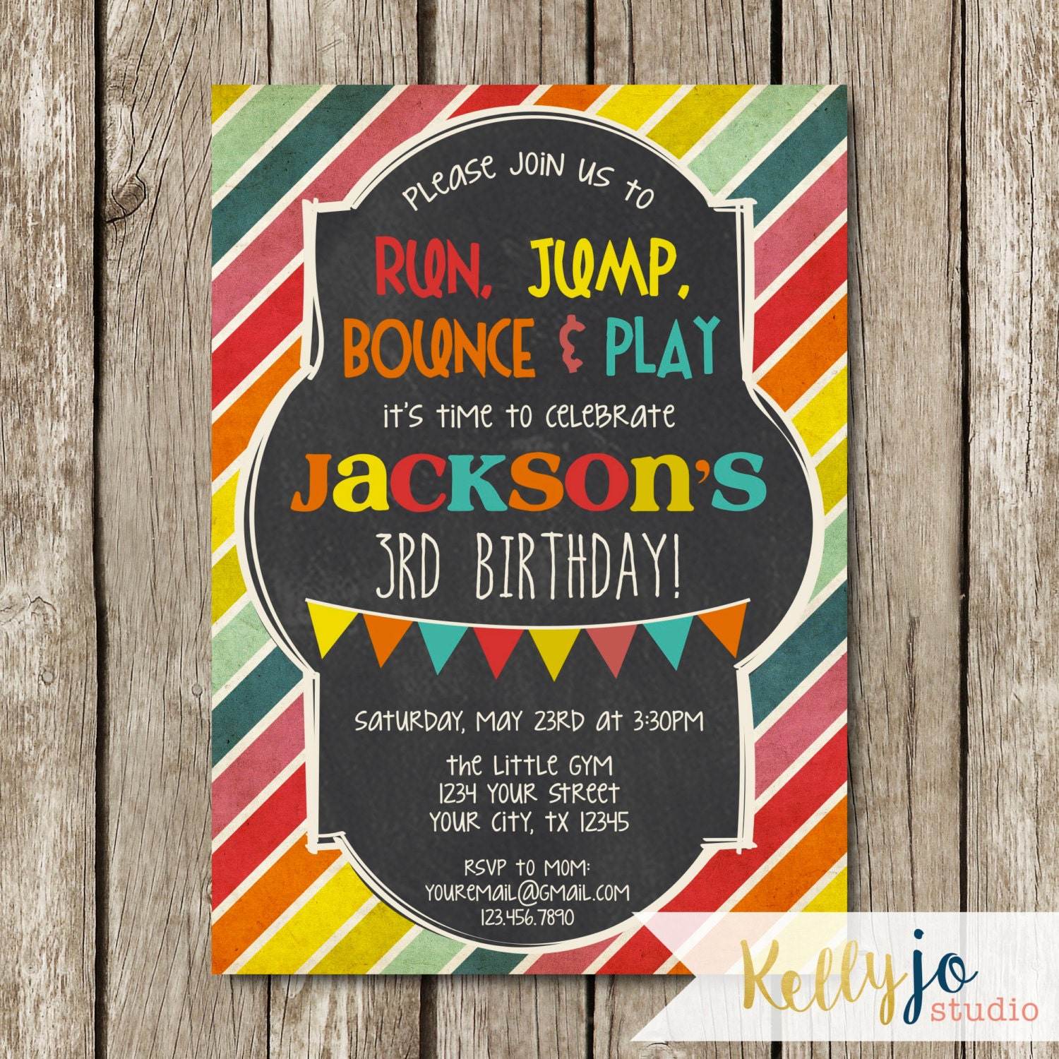 Bright Colors Little Gym Birthday Party Invitation Bounce