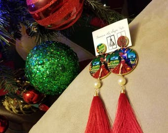 Flamenco earrings, light and colorful with glass appliqués, handmade by our creator Gabi Vargas.