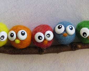 Tap felted birds.