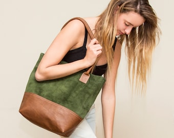 SALE!! Suede Leather tote Green suede leather bag Brown leather tote Handmade with Love!