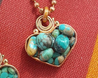 Long Turquoise Heart Necklace - Blue Green Turquoise - Rustic Copper Heart - Cowgirl Jewelry - Copper Chain - Valentine's Day Gift