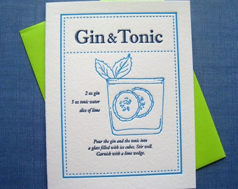 Letterpress Notecard - Gin and Tonic