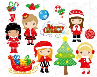CHRISTMAS GIRLS Clipart, Merry Christmas Digital Clipart (CG203)