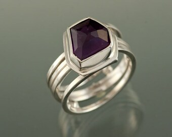 Natural shaped Rose Cut Amethyst on Spiral Sterling SIlver Ring, One of a Kind, Ready to Ship, size 7 1/2