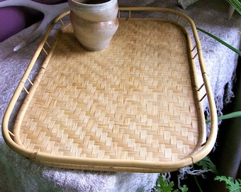 Vintage Bamboo Rattan Tray Boho Tropical Serving Tray Patio Tiki Room Decor