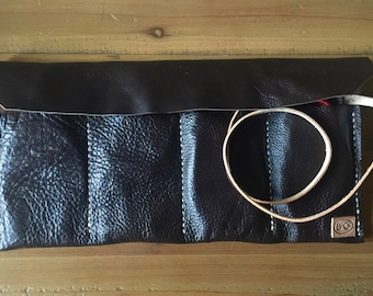Upcycled leather utility roll/wrap/storage reclaimed leather