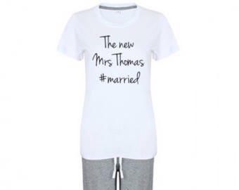 Personalised pyjamas set, long set, wedding pyjamas, wedding gift, bride pyjamas, pj's, personalised nightwear, bridesmaid pyjamas