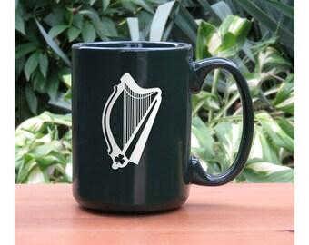Harp Coffee Mug / Free Personalization / Personalized Gift / 15 oz Ceramic Coffee Mug /Music Coffee Mug / Coffee, Tea, or Hot Chocolate Mug