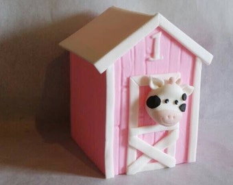 Fondant Barn with Cow Topper