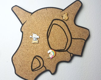 Cubone Skull Pokemon Cork Board | Enamel Pin Display | Laser Cut Cork Board | Handmade Decor