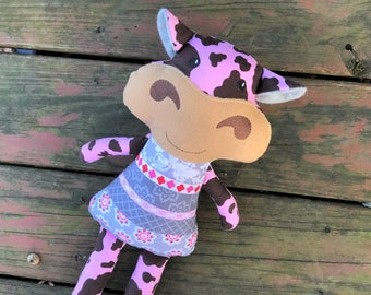 Cow Stuffed Animal - Cow Softie - Cow Plush - Girl Cow - Boy Cow - Doll - Custom - Personalized - Plushie - Gift for Kids - Christmas Gift