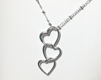 Silver Floating Heart Necklace, Sterling Silver Interlocking Heart Pendant, I Love You, Today, Tomorrow, Forever, Gift for Her