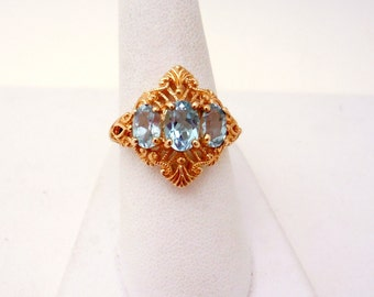 Vintage Inspired Yellow Gold Filigree Blue Topaz Ring