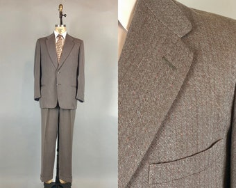 Vintage 1950s Mens Suit | 50s Smokey Taupe Wool Single Breasted Suit with Orange Flecked Chocolate Brown Pinstripes | Medium Size 40/30x30