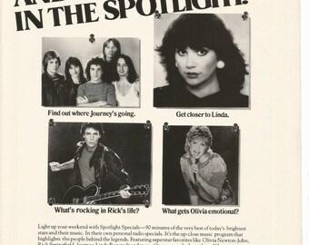 1983 Advertisement Spotlight Series Celebrity Music Journey Linda Ronstat Rick Springfield Olivia Newton John Stars ABC Radio Wall Art Decor