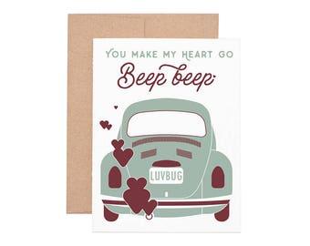 Love Bug Beep Letterpress Greeting Card - Blank Card | Love Card | Valentine's Day | Greeting Cards