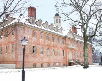 CHRISTOPHER WREN BUILDING, Snow,  William & Mary College, Williamsburg, Virginia, Photograph, Christmas Card, Holiday, Winter