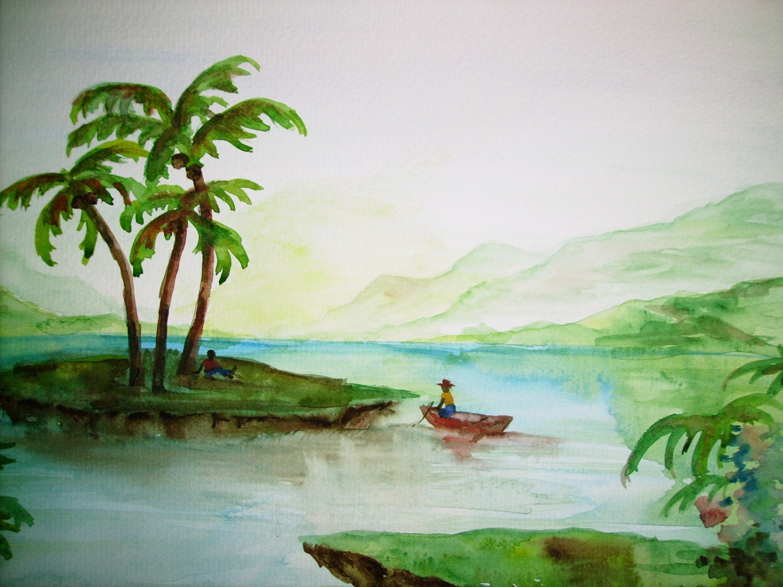 Palm Island Palm Trees Island Painting 11x15 Original