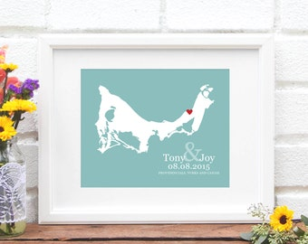 Turks and Caicos Wedding Gift, Destination Wedding Personalized Map Design, Island Wedding Art, Turks and Caicos Islands, Honeymoon Travel