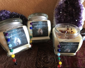 Quantum Chakra Candle~ Soy Candle 10oz.~7 Bead Necklace~Energy Candle~Meditiation~Scented Cangle~Glass Candle