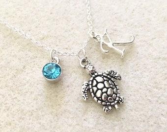 Personalized sea turtle necklace beach necklace sea necklace ocean necklace beach gifts turtle jewelry turtle gifts ocean lover gift turtle