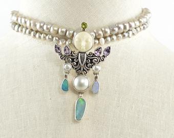 Pearl Opal Amethyst Iolite Necklace with Bone Goddess Warrior Pendant