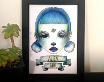 PRINT A5 . Alien girl . Art . Space . Babe
