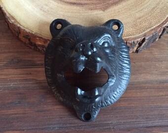Matte black bear head bottle opener