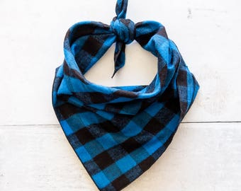 Dog Bandana, Blue Buffalo Plaid Dog Bandana, Blue Plaid Bandana, Tie-On Bandana