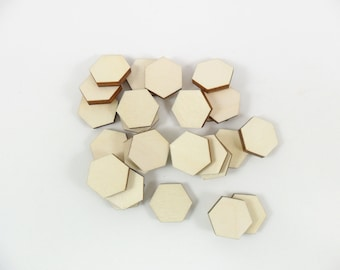 Wood Hexagon Stud Earring 16mm Laser Cut Tiles Jewelry Shapes - 25 Pieces