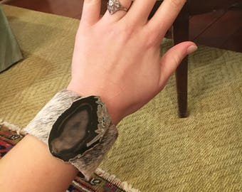 Tan and Black Leather and Fur Cuff
