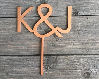 "Initials Wedding Cake Topper 5"" inches wide, Custom Initial Cake Topper, Couples Initials Laser Cut Modern Cake Toppers by Ngo Creations"
