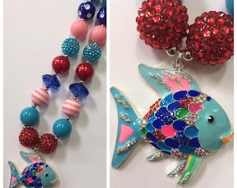 Fish Chunky Bead Necklace, Pendant Chunky Necklace, Bubblegum Necklace, Pink, Red & Blue Color Necklace