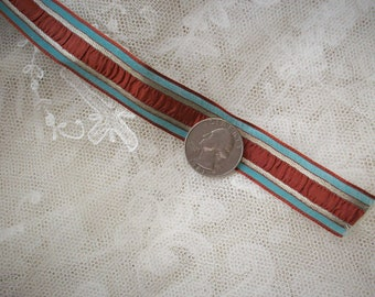1 yd. of rare Antique red, silver and blue striped trim real metal,ruched, ribbon work,doll