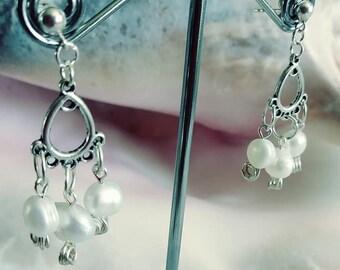 Pearl Earrings  Sterling Silver Stud/ Post - Handmade - Dangle - Drop - Boho - Chic - Beachy - Petite - Classic look