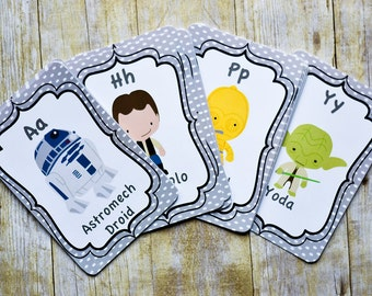 Star Wars ABC Cards- Nursery Room Decor, Alphabet Cards, Star Wars Nursery Room Decoration, Nursery Card Set PRINTABLE