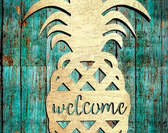 Wooden Welcome  Pineapple