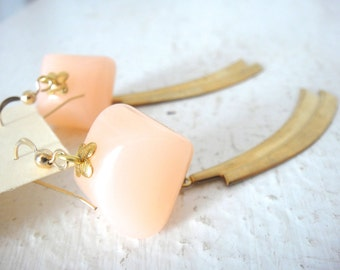 Vintage Light Pink Lucite Bead Earrings with Brass Swag Charms, One of a Kind