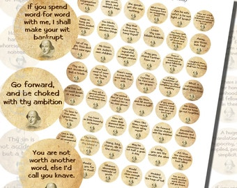 Shakespearean Insults Printables, ONE INCH CIRCLES (25 mm), with 1/2 inch (13mm) and 3/4 inch (20mm) circles also included
