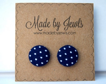 Dark Blue and White Polka Dot Fabric Covered Hypoallergenic Button Post Stud Earrings 10mm