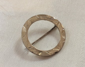 Classic Sterling Circle Brooch, Engraved, 1950s