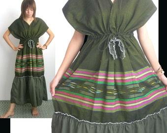 Green VS Green Long Kimono Dress