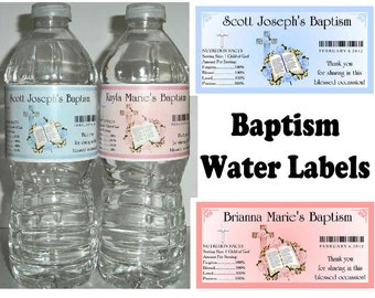 20 Baptism Christening party favors water bottle labels ~  glossy ~ waterproof ink ~ FREE SHIPPING